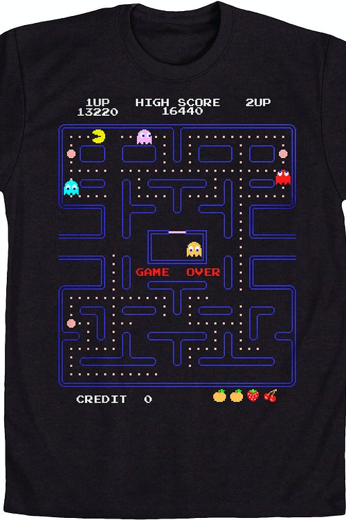 4c7df87ae64 Game Over Pac-Man T-Shirt  Pac-Man Mens T-Shirt