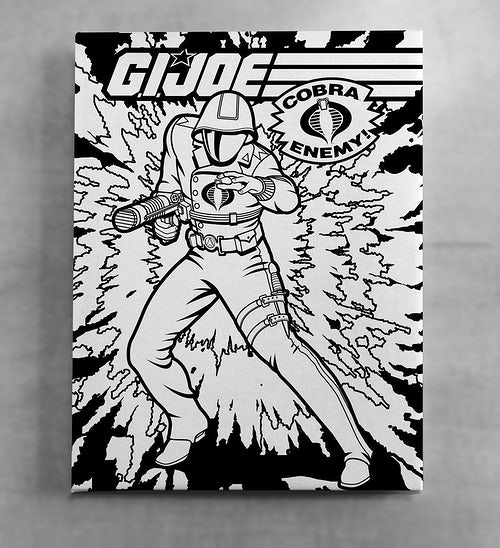 GI Joe Cobra Commander Black and White Canvas Wall Art