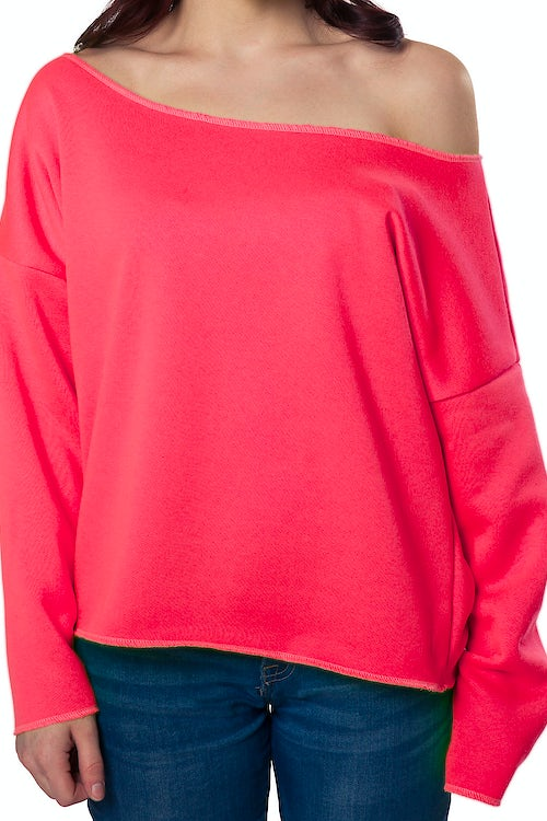 Hot Pink Cut Off Sweatshirt