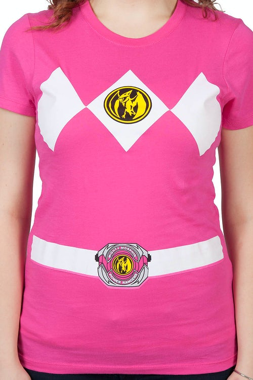 04b1e543c9f Ladies Pink Power Ranger Costume T-Shirt  Mighty Morphin Power Rangers