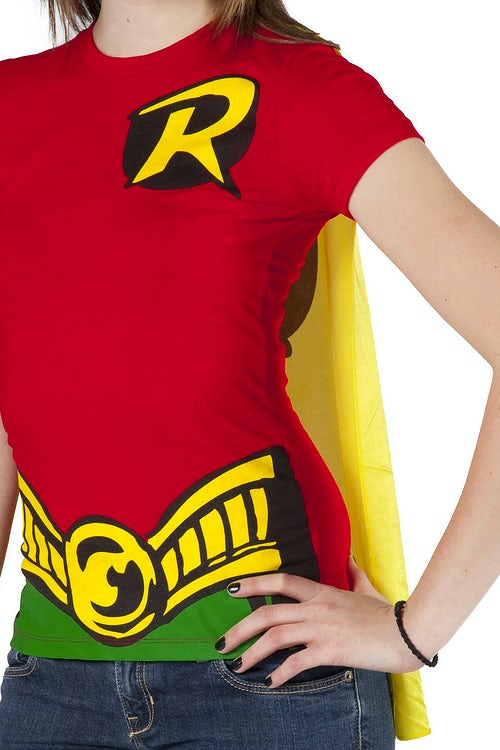 Ladies Robin Caped Costume Shirt