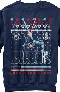 Lightsaber Duel Faux Ugly Christmas Sweater