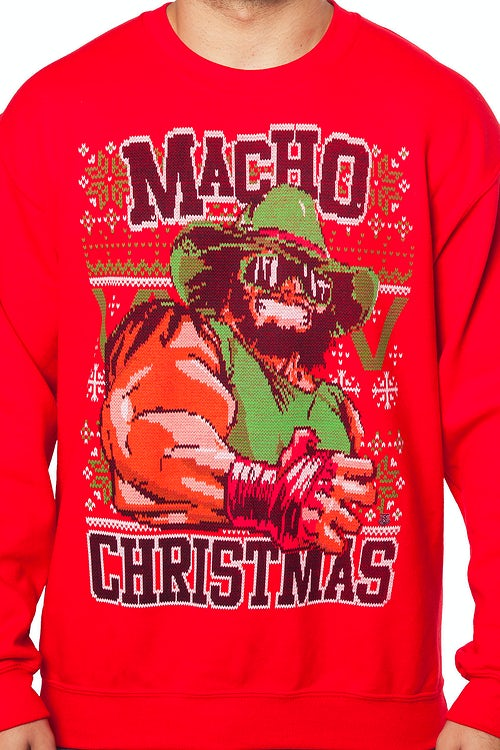 Macho Man Faux Christmas Sweater