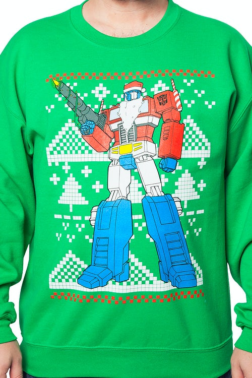 Transformers Optimus Prime Faux Ugly Sweater