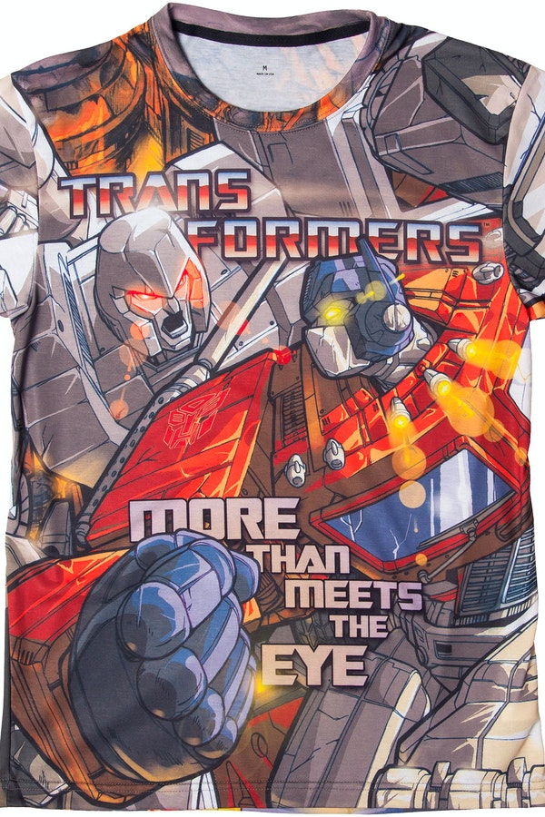 Transformers optimus prime vs megatron sublimation t shirt - Transformers cartoon optimus prime vs megatron ...
