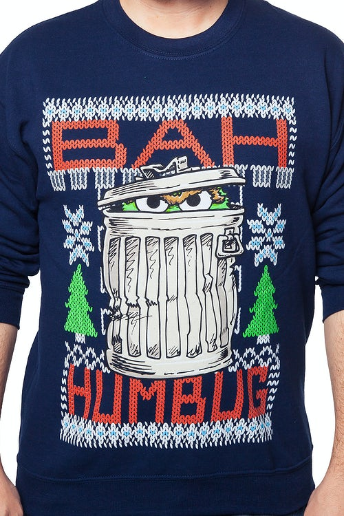 Sesame Street Oscar The Grouch Faux Ugly Christmas Sweater