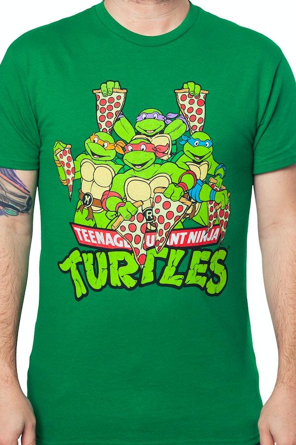 Pizza slices ninja turtle t shirt ninja turtles mens t shirt for Turtle t shirts online