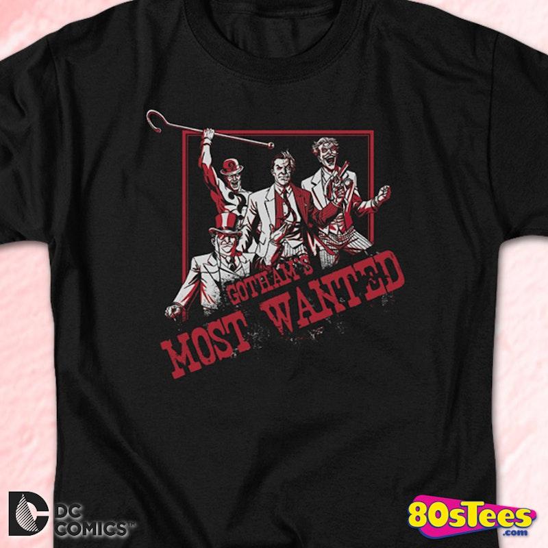 b7778c840 Gotham's Most Wanted Batman T-Shirt: DC Comics Mens T-Shirt