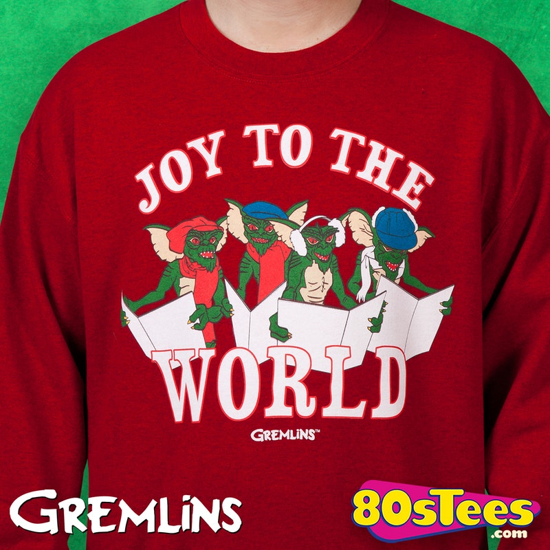Gremlins Christmas Carols Faux Ugly Sweater: Gremlins Mens Sweatshirts