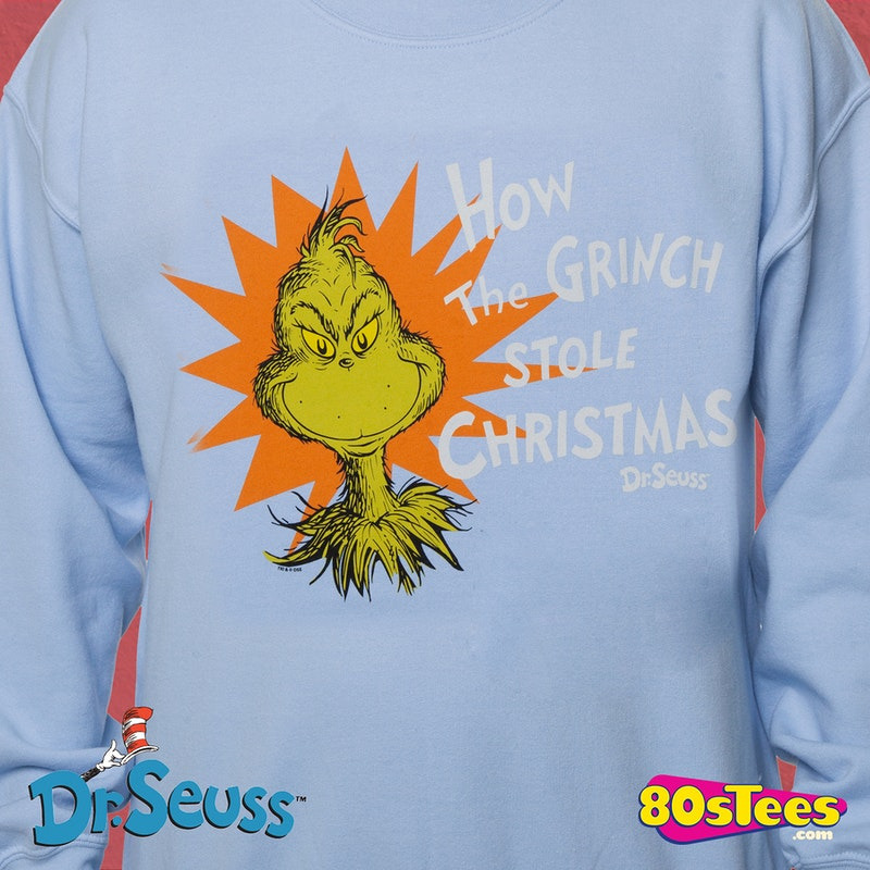 grinch stole christmas faux ugly sweater dr seuss mens sweatshirts - Grinch Ugly Christmas Sweater