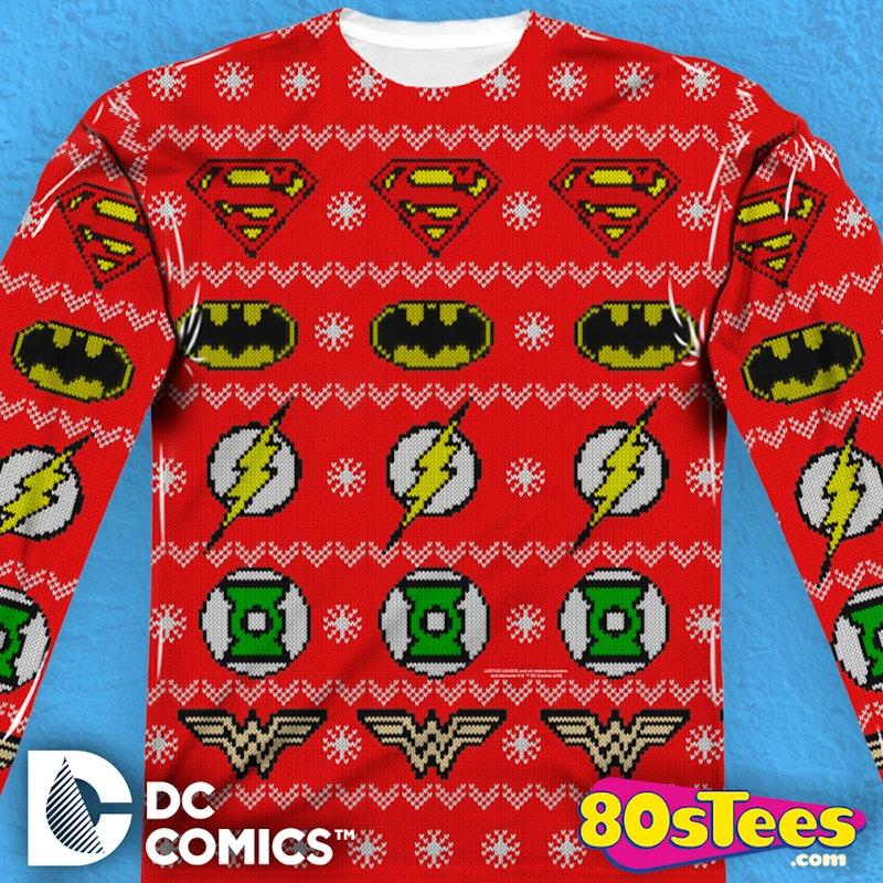Justice League Christmas Sweater Dc Comics Mens Long Sleeve Shirt