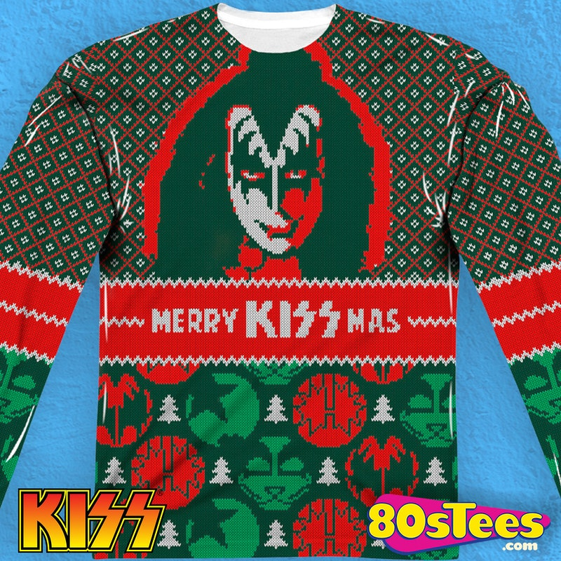 Kiss Sublimated Faux Christmas Sweater: Kiss Mens Long Sleeve Shirt