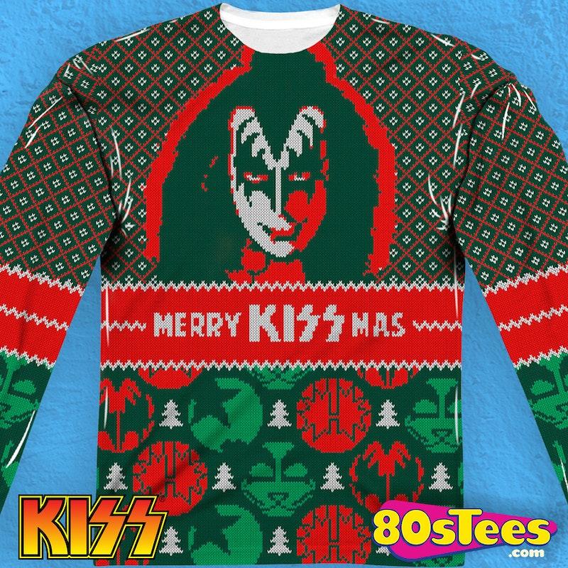 f60fbdbeb25 Kiss Band Ugly Faux Christmas Sweater Long Sleeve Tee