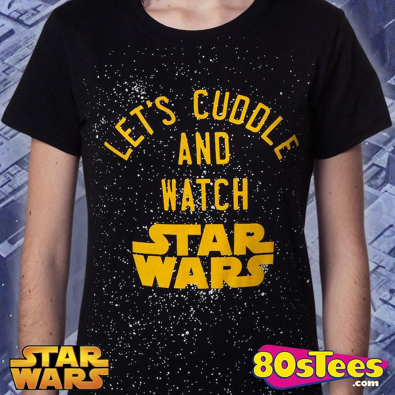 ladies cuddle and watch star wars shirt star wars junior. Black Bedroom Furniture Sets. Home Design Ideas