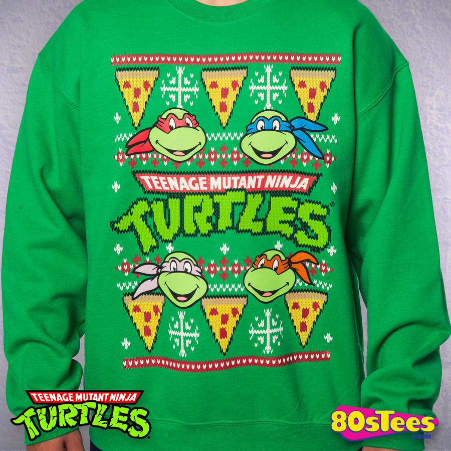 Ninja Turtles Faux Christmas Sweater: TMNT Mens Sweatshirt