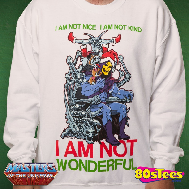 Skeletor Faux Ugly Christmas Sweater Masters Of The Universe Xmas
