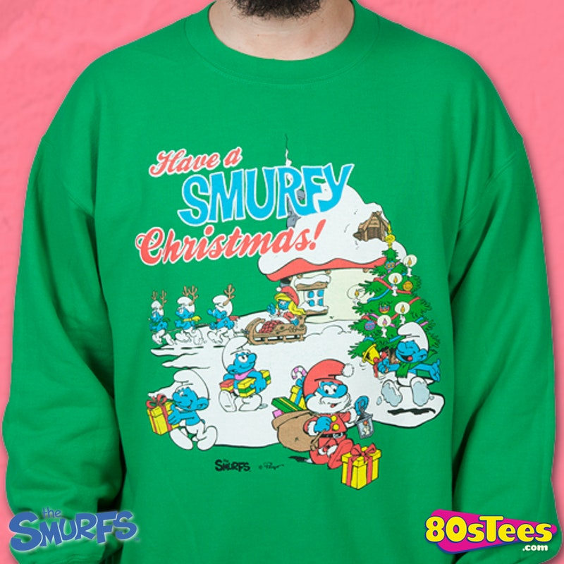 Smurfy Christmas Faux Ugly Sweater Smurfs Mens Sweatshirts