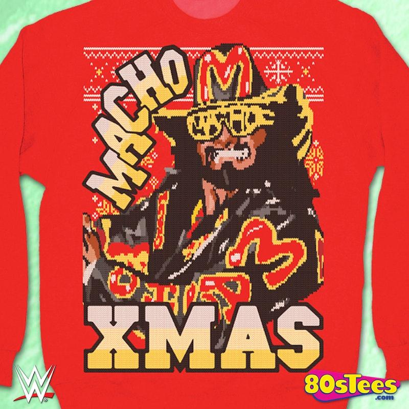 Macho Man Randy Savage Macho Christmas Red Crew Sweatshirt