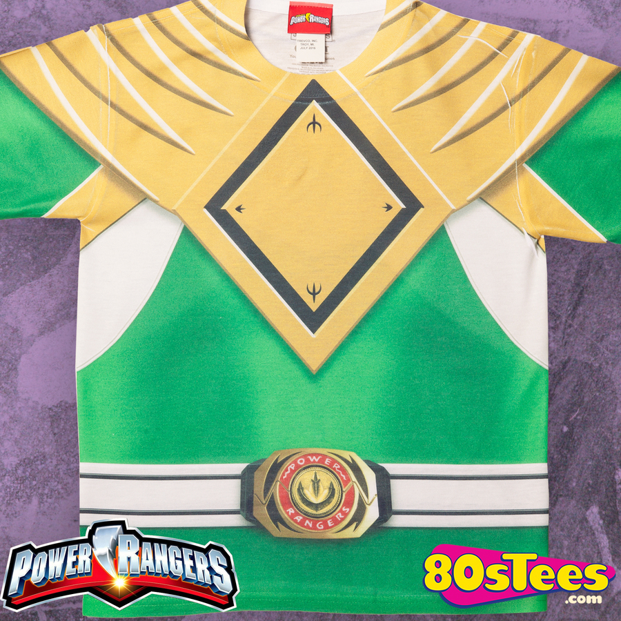 Green Ranger Costume All Over Print T-Shirt Power Rangers Sublimation Youth