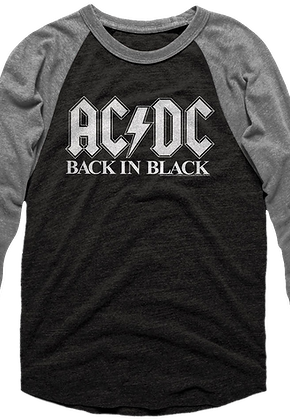 Back In Black ACDC Raglan Baseball Shirt