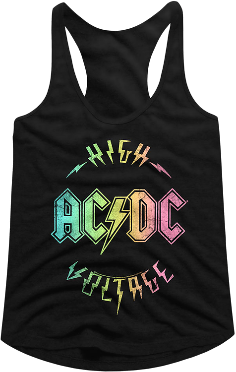 Ladies Rainbow High Voltage ACDC Racerback Tank Top