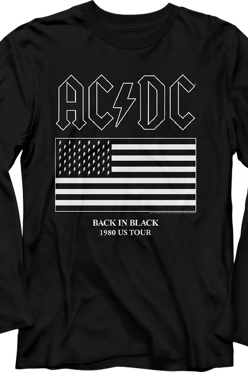 Back In Black 1980 US Tour ACDC Long Sleeve Shirt