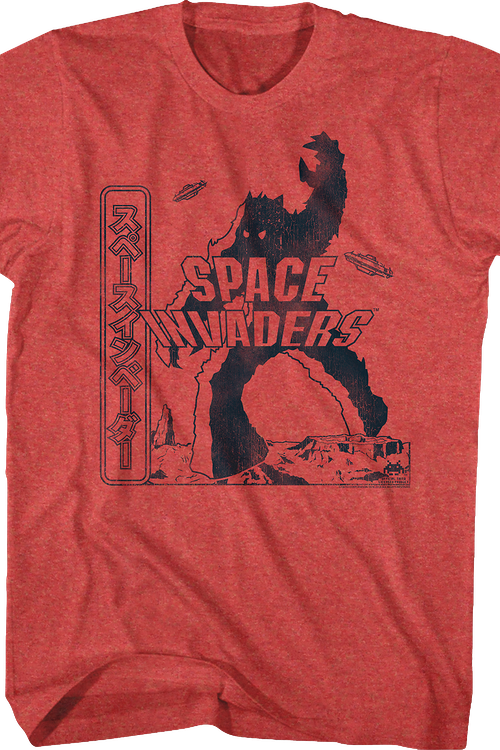 Red Japanese Space Invaders T-Shirt