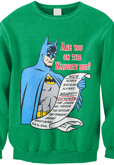 Naughty List Batman Faux Ugly Christmas Sweater Dc Comics