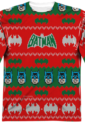 Batman Ugly Christmas Faux Sweater Long Sleeve Tee