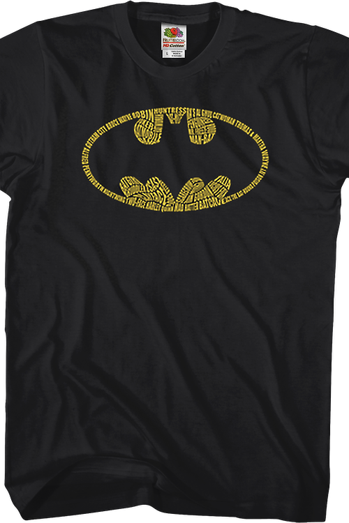 Names In Bat Symbol Batman T-Shirt