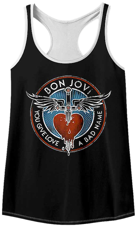 2f73f1ac09857b Ladies You Give Love A Bad Name Bon Jovi Racerback Tank Top.