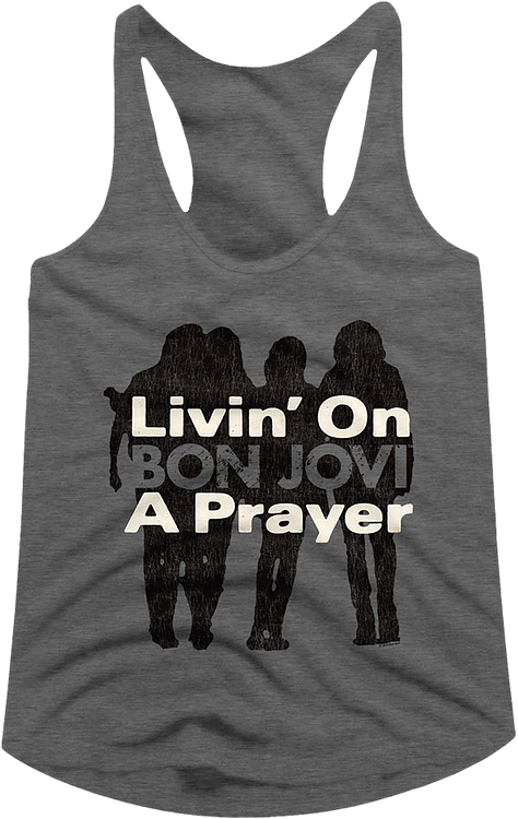 Ladies Livin' On A Prayer Bon Jovi Racerback Tank Top