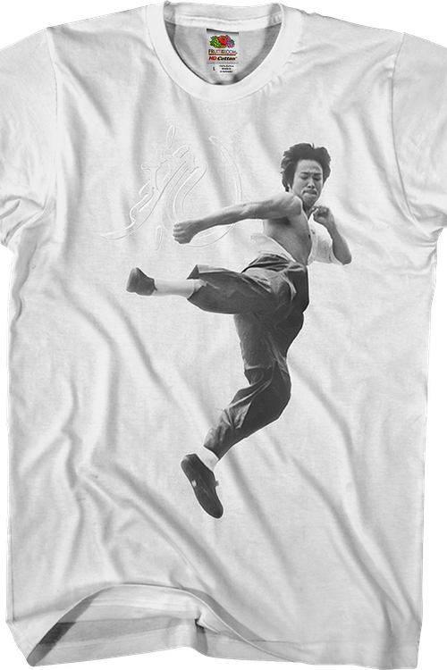 Black and White Motion Kick Bruce Lee T-Shirt