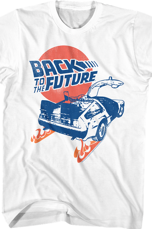 Distressed Fire Tracks Back To The Future T-Shirt