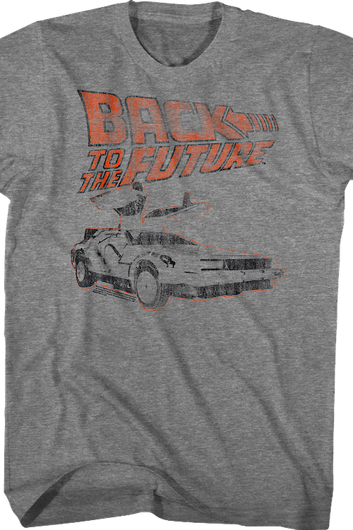 Distressed Logo And DeLorean Back To The Future T-Shirt