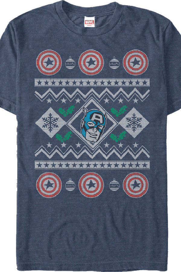 Faux Ugly Christmas Sweater Captain America T-Shirt