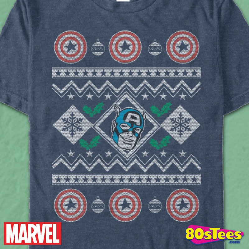 Faux Ugly Christmas Sweater Captain America T Shirt