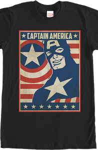 Patriotic Poster Captain America T-Shirt