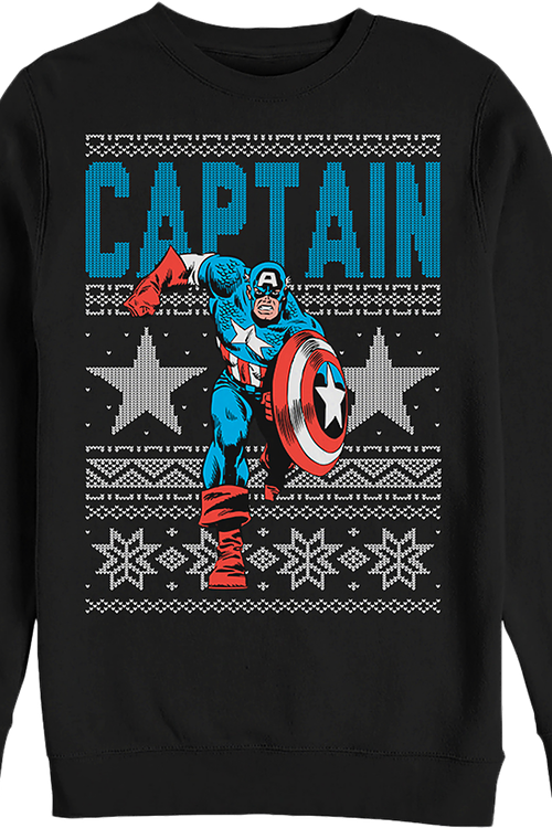 Captain America Faux Ugly Christmas Sweater