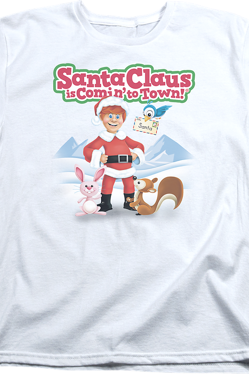 Womens Santa Claus Is Comin' To Town Shirt