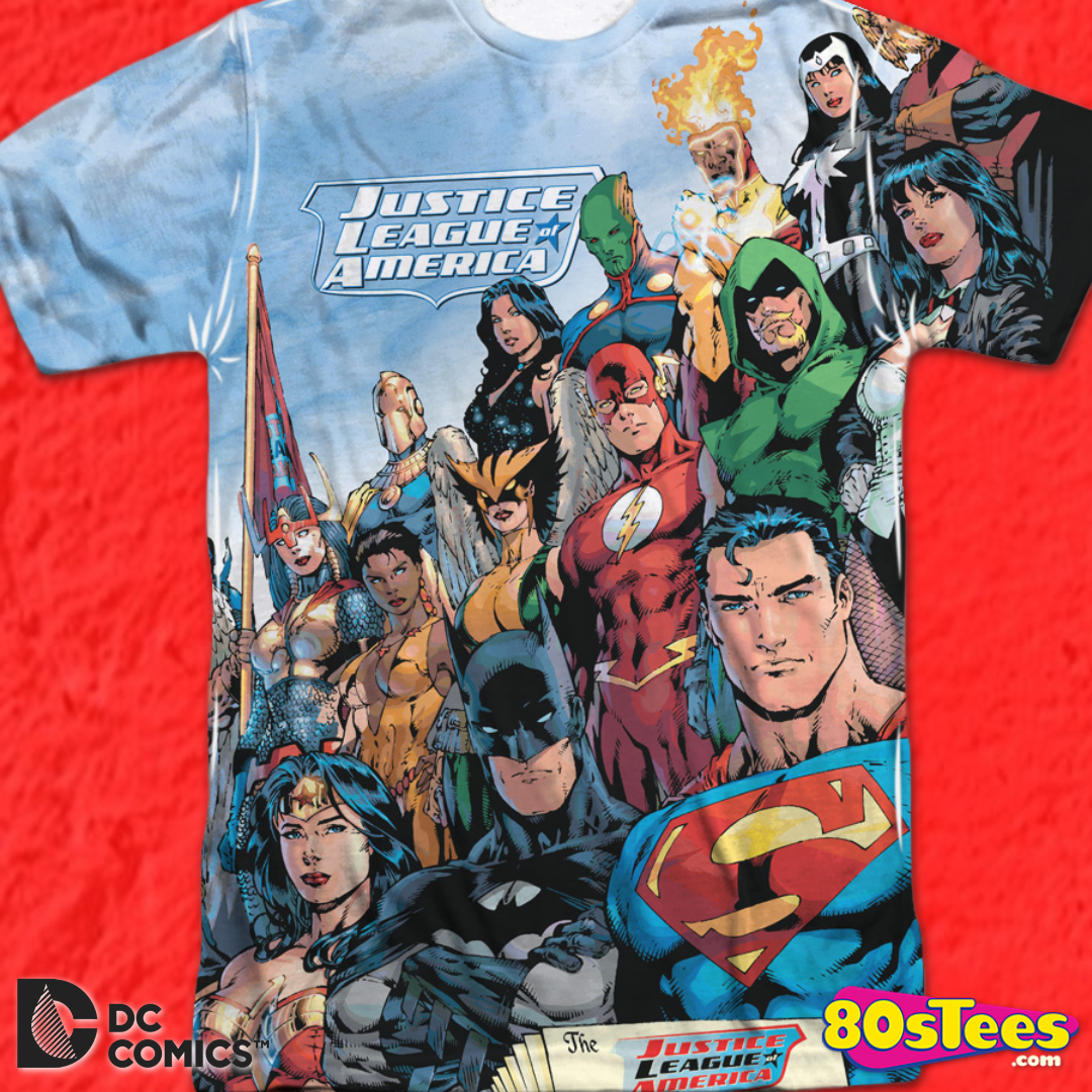 NWT Boys DC Comics Justice League Movie T-Shirt Size Large Red