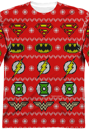 aae09ded6f8 Justice League Sublimated Ugly Faux Christmas Sweater Long Sleeve Tee