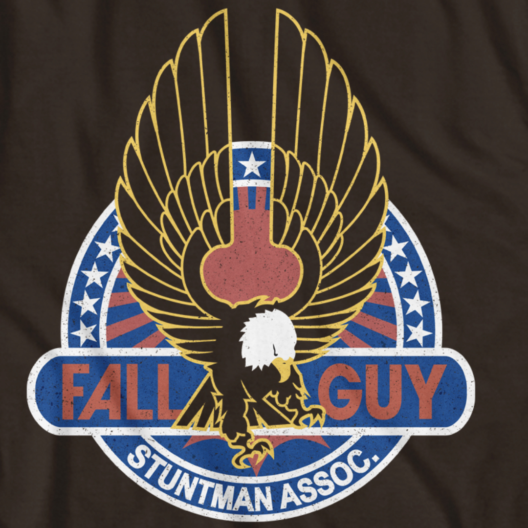 FALL GUY B/W Logo Stuntman Association Insignia hollywood Men's S to 4XLT Men's Clothing