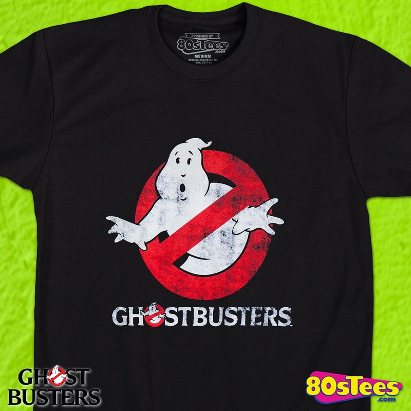 689e4e9c Distressed Glowing Ghostbusters T-Shirt: Ghostbusters Mens T-shirt
