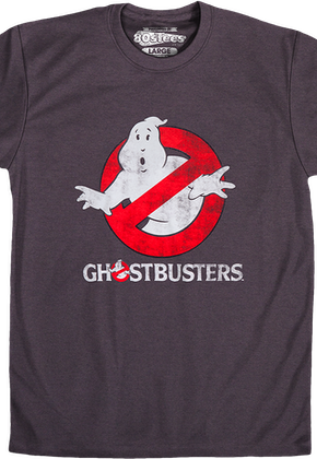 Charcoal Distressed Ghostbusters Logo Shirt