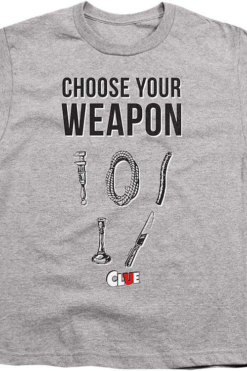Youth Choose Your Weapon Clue Shirt