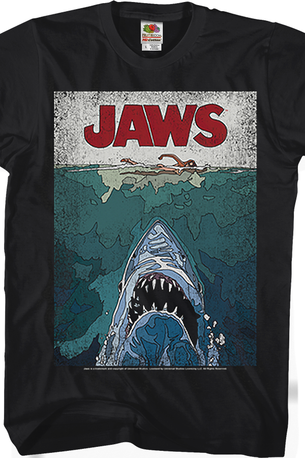 Lined Poster Jaws T-Shirt