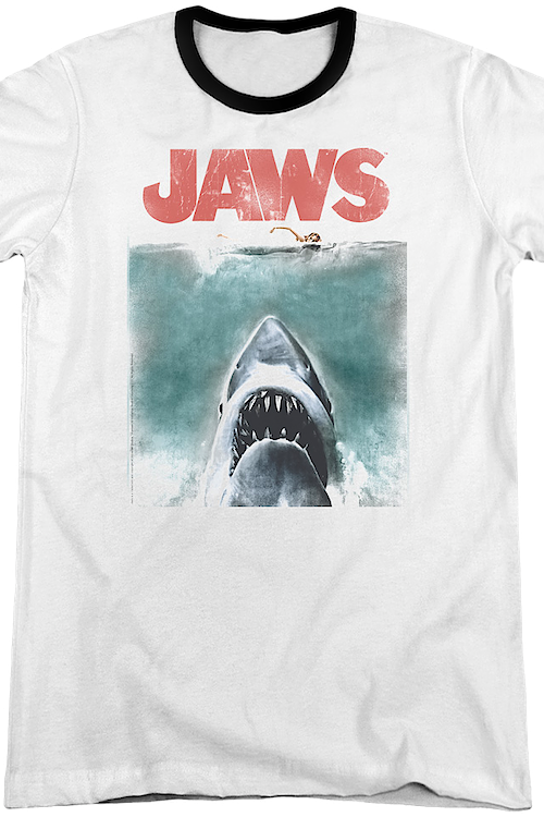 Movie Poster Jaws Ringer Shirt