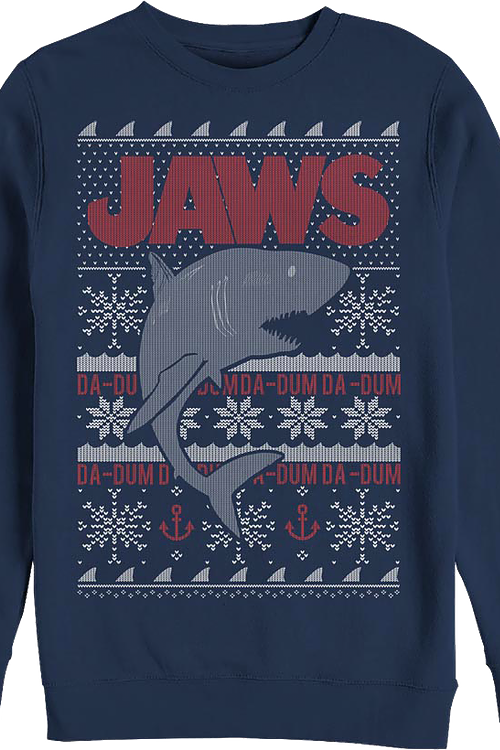 Ugly Faux Knit Jaws Christmas Sweatshirt