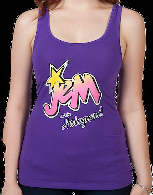 b48d0d338a1c1 Ladies Jem Logo Tank Top  80s Cartoons Jem   The Holograms Tank Tops